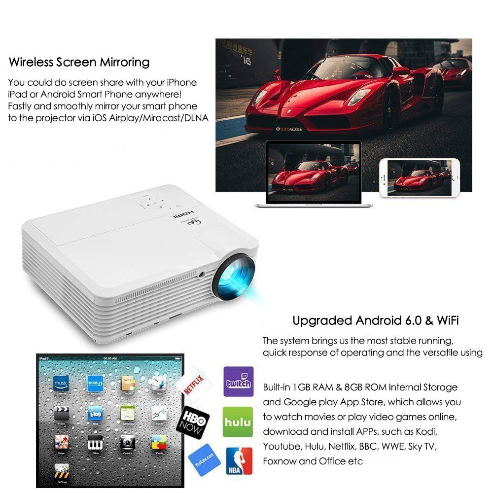 Bluetooth WiFi Inalámbrico HDMI HD Proyector 8400 Lumen LED LCD ...