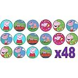 48 de Peppa Pig 3 cm Mini discos Disco de papel de oblea Cupcakes (comestibles