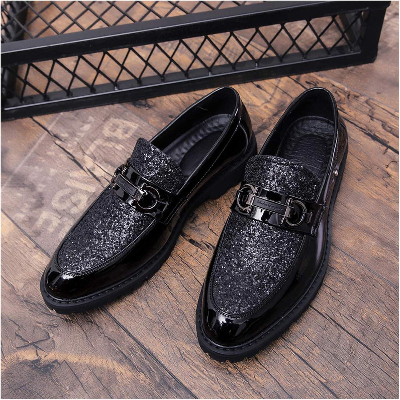 Oudiy Men Thick Bottom Dress Shoes Plus