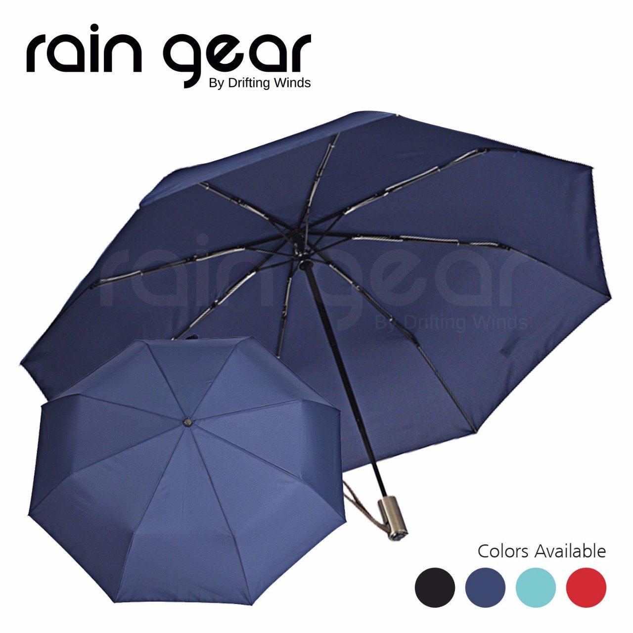 雨ギア傘防風、ヘビーデューティYetライトNコンパクト、自動開く/閉じるデザインwithキャリーポーチ理想的なハンドバッグ、車使用: Bestのゴルフ旅行、通勤、傘でも天気。 B077P344JJ ネイビーブルー