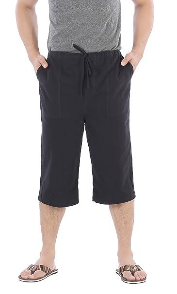 2dc27711e3b CandyHusky Men Cotton Casual Drawstring Loose Capri Yoga Pants Pyjamas One  Size (Black)