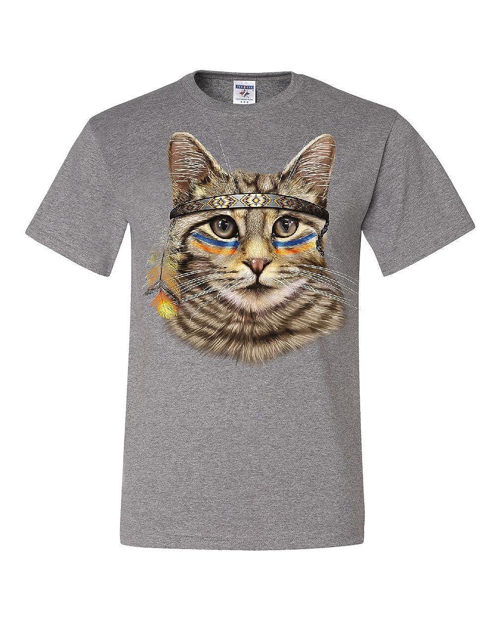 Native American Chief Cat Long Sleeve T-Shirt Cat Lovers Kitten Headdress Tee