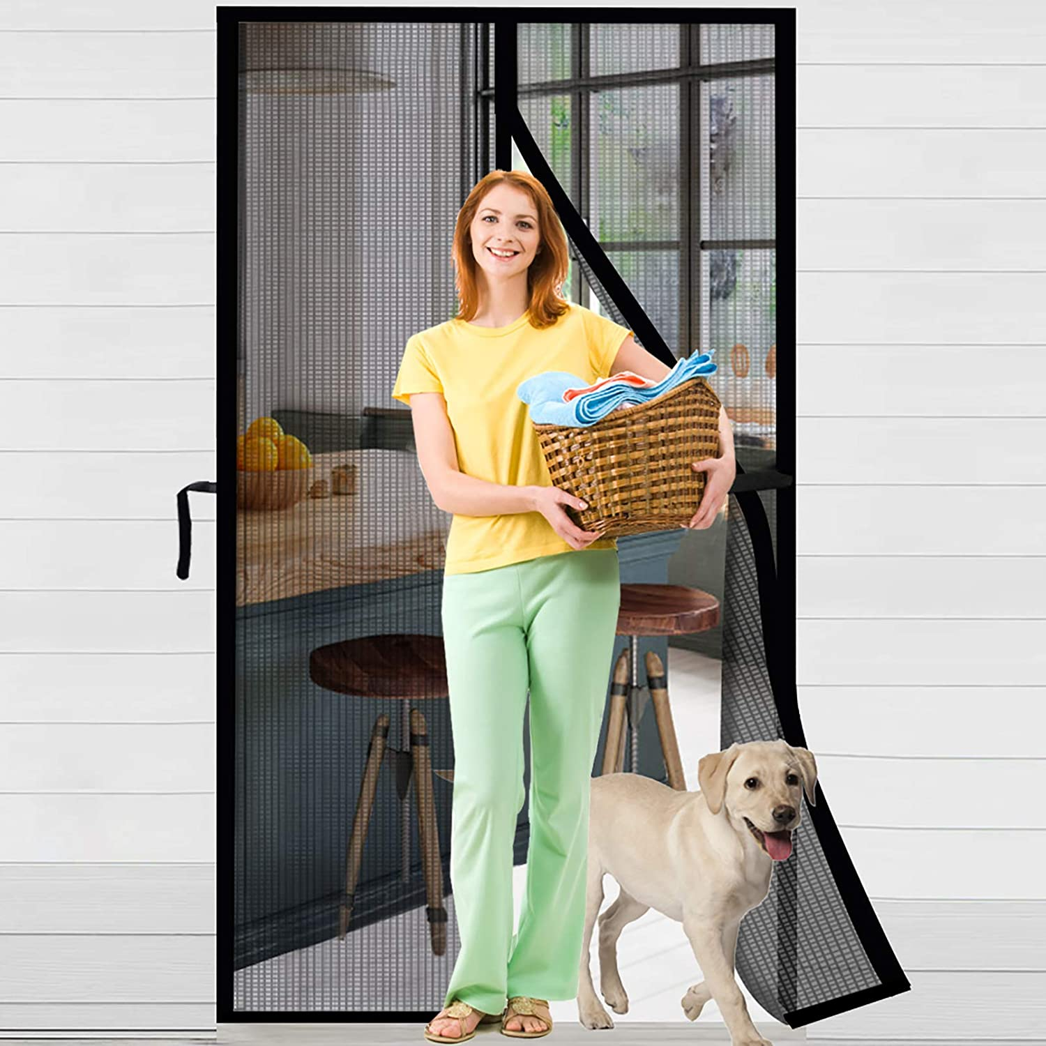 "ACMETOP Magnetic Screen Door, Upgraded Fiberglass Mesh Screen Door with Handy Hasps, Reinforced Door Screen with 36 Magnets & 6 Weighted Sticks, Full Frame Hook & Loop Fits Door Size Up to 36"" x 82"" - -"