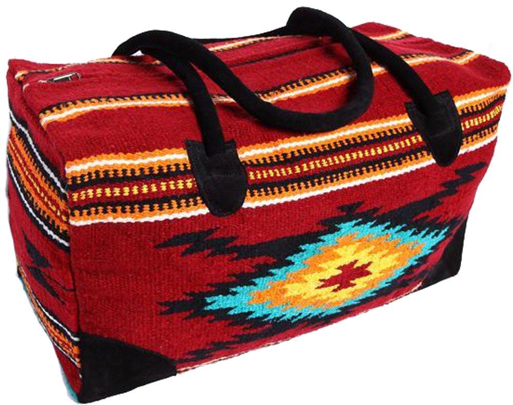 El Paso Saddle Blanket Go West Travel Bag 22'' -Weekender Bag, Woven Rug Design, Leather Handles (I-Cranberry)