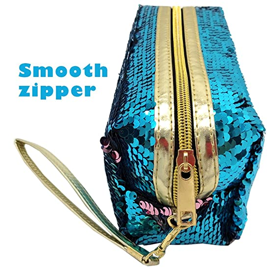 Uniuooi - Neceser, estuche, bolsa para cosméticos diseño sirena, con lentejuelas brillantes reversibles de dos colores, con cremallera y asa de mano ...