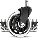 Office chair wheels replacement rubber chair casters for hardwood floors and carpet, set of 5, heavy duty office chair caster