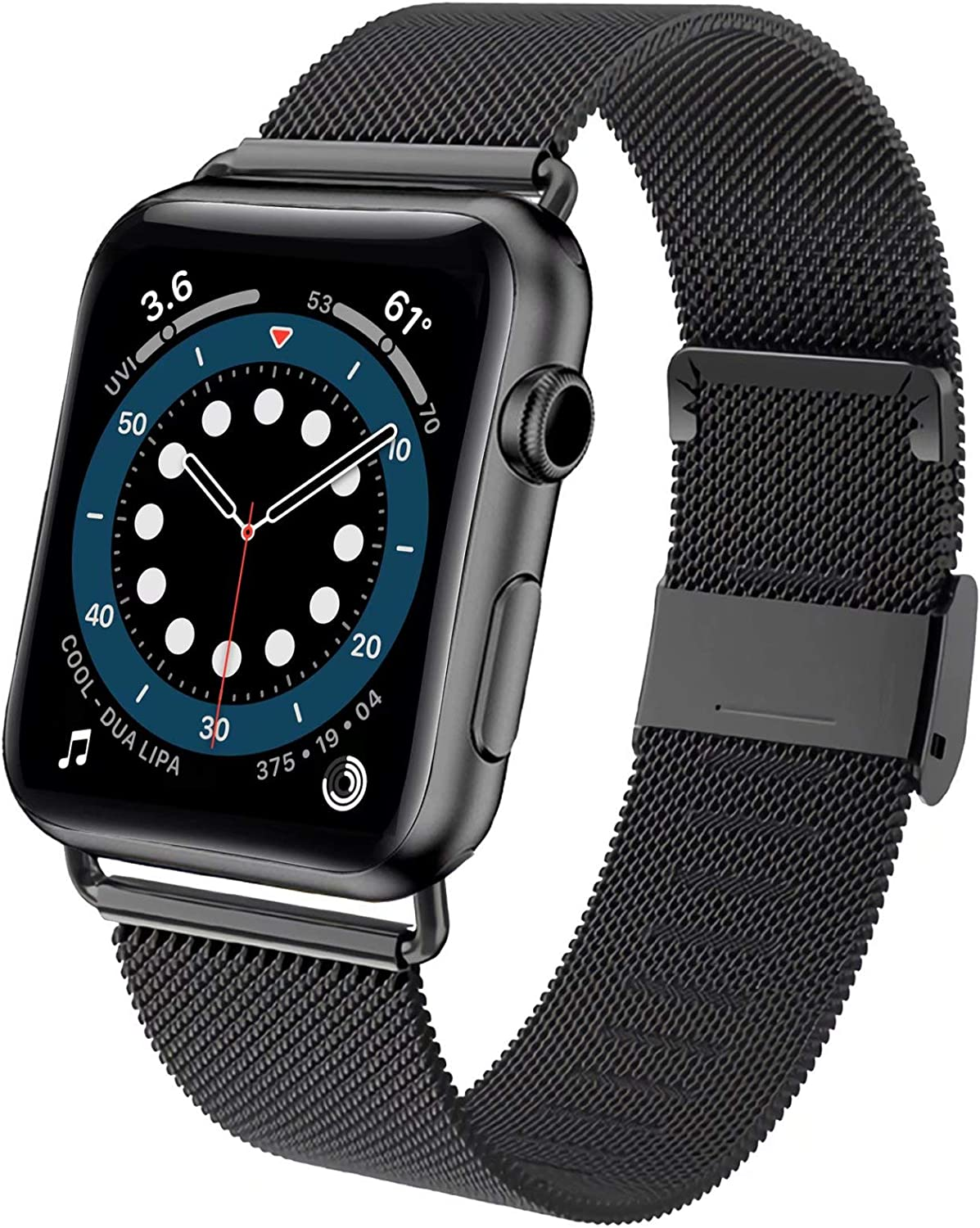 ADWLOF Compatible for Apple Watch Bands 42mm 44mm, Stainless Steel Mesh Magnetic Sport Wristband Loop Strap Replacement Band for iWatch Series 6/5/4/3/2/1/SE,Dark Black