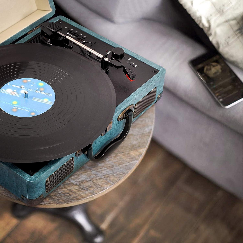 Tocadiscos, Miric Tocadiscos de Vinilo con 2 Altavoces incorporados, portátil, 3-velocidades, para Discos de Vinilo de 7/10/12 Pulgadas, Equipado con ...