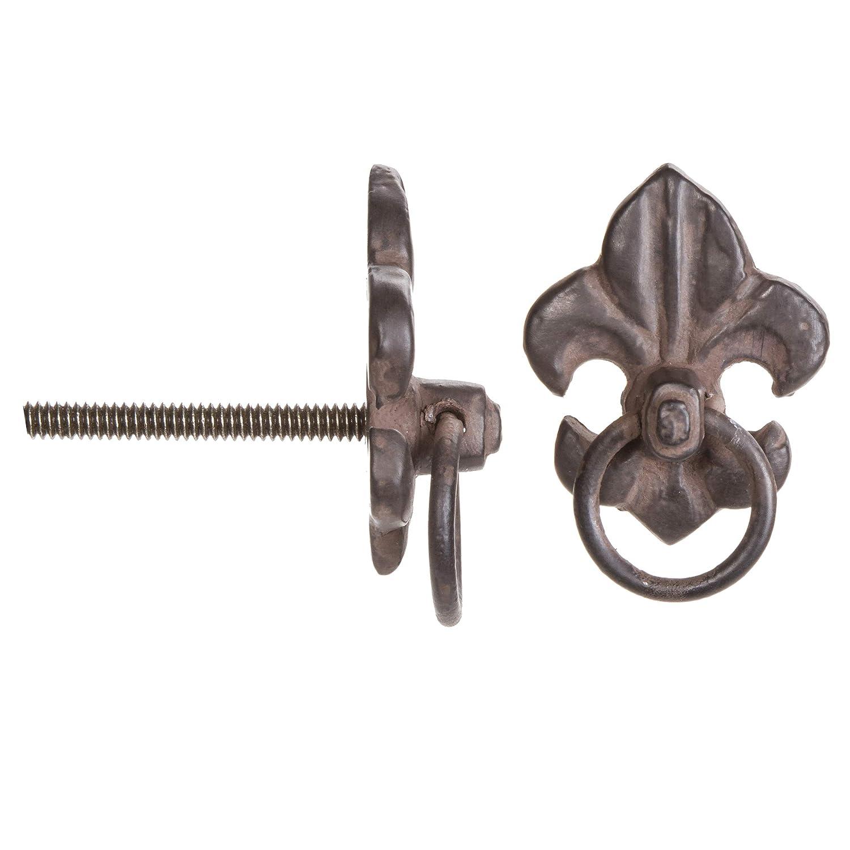 Darice Fleur-de-Lis Drawer Pull: Distressed, Metal, 1.438 x 2 inches Knob Rust