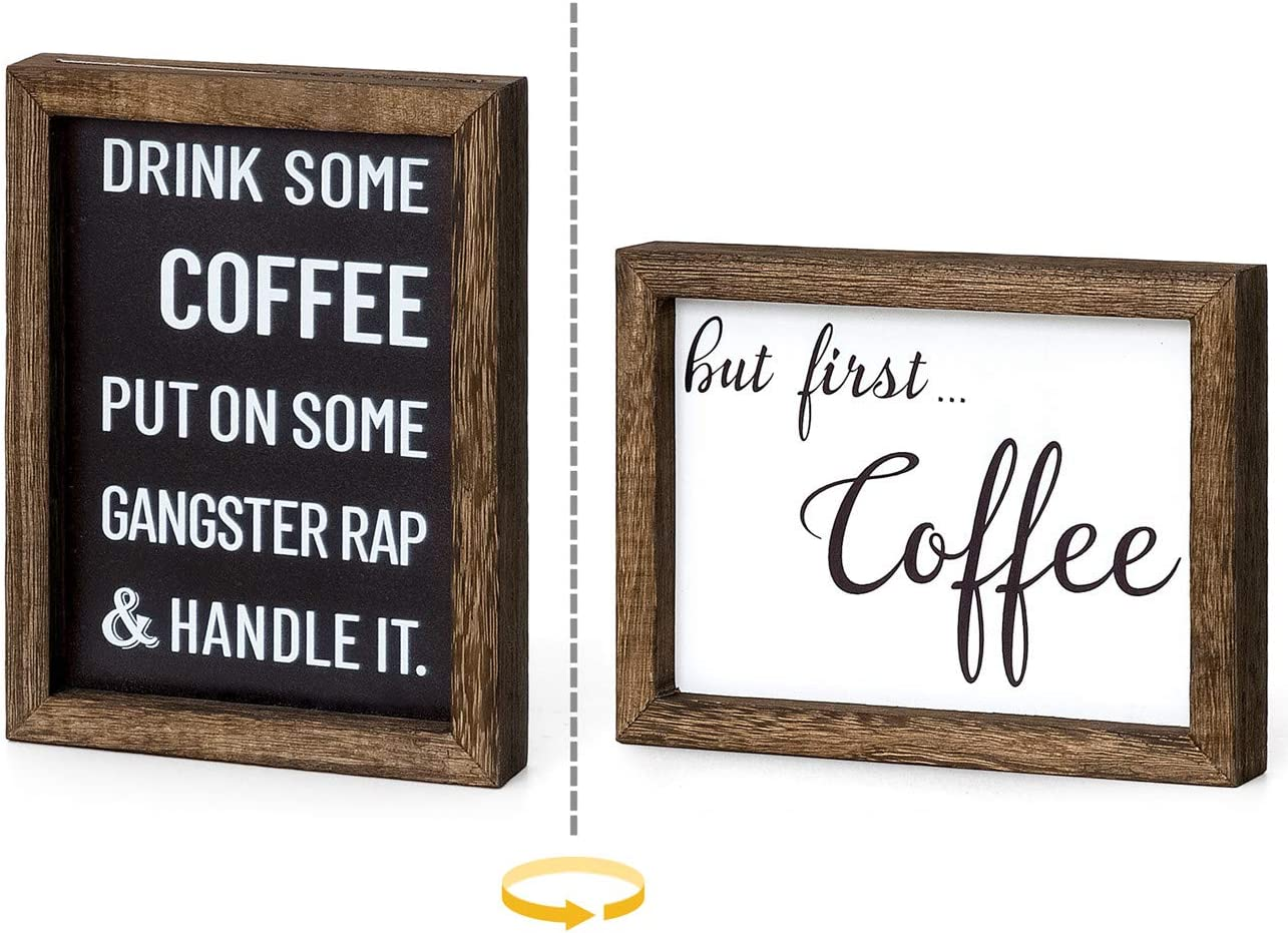 Mkono 1 Pack Farmhouse Coffee Signs Decor Wall Hanging or Free Standing Wood Sign Rustic Signs with Sayings, Drink Some Coffee Wall Art Modern Office Home Decorations, 2 Sides