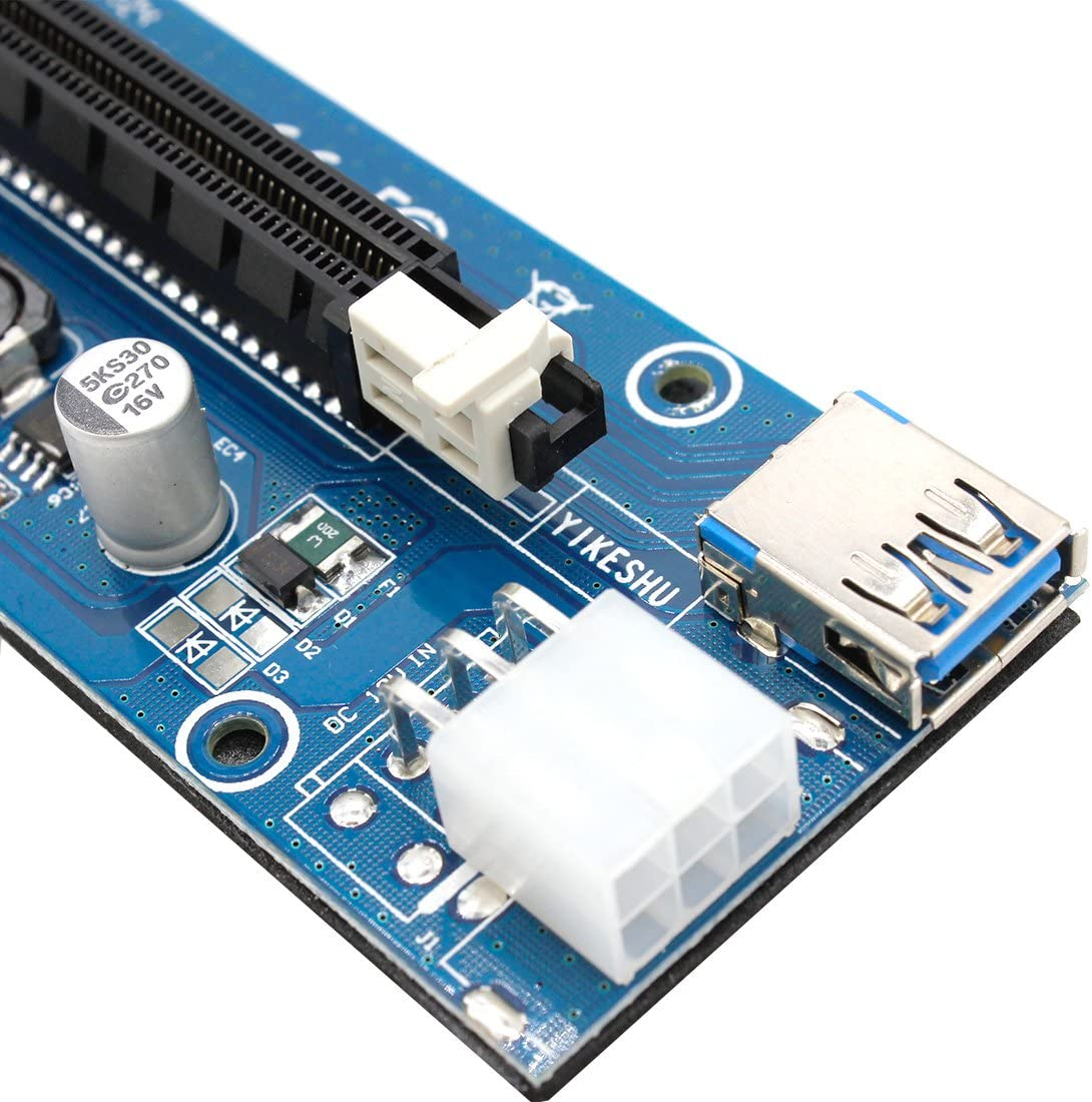 GPU Riser Adapter Pcie Riser Mining ETHiLED with LED Indicator YIKESHU 3Pack PCI-E 16x 8X 4X 1x Powered Riser Adapter Card 60cm USB 3.0 Extension Cable /& 6-Pin PCI-E to SATA Power Cable