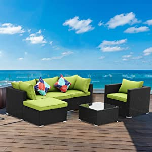 Saemoza Patio Furniture Set, 6 Piece Outdoor Wicker Rattan Conversation Sofa Sets with Tempered Glass Tabletop Coffee Table,Black Wicker| Green Cushions for OutdoorGarden