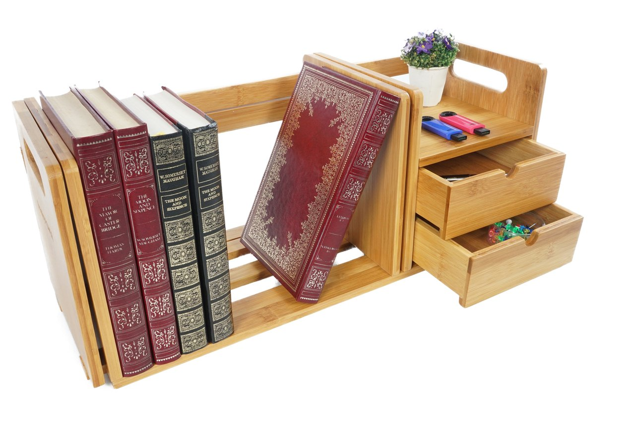 Bramley Power Natural Bamboo Desk Organiser Bookshelf with 2 Drawers for Office and Home, Expandable and Adjustable