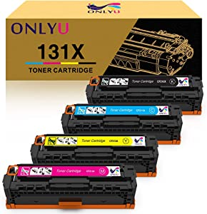ONLYU Compatible Toner Cartridge Replacement for HP 131X CF210X 131A CF210A CF211A CF212A CF213A for HP Laserjet Pro 200 Color M251nw M251n M276n M276nw (Black Cyan Yellow Magenta, 4-Pack)