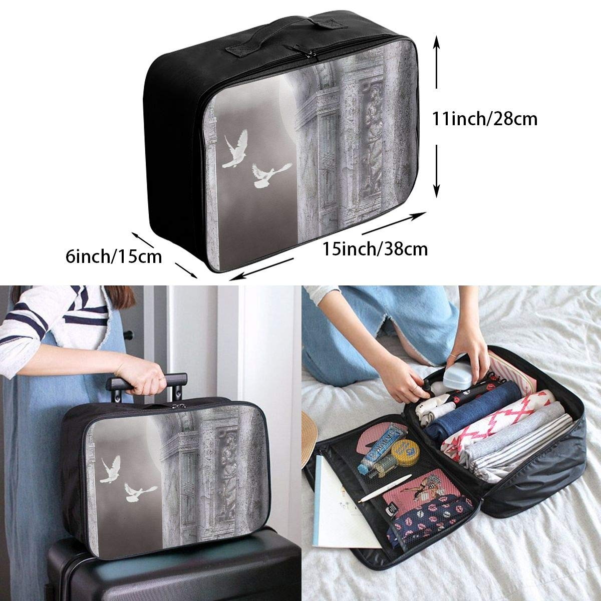 Travel Luggage Duffle Bag Lightweight Portable Handbag Dove Of Peace Print Large Capacity Waterproof Foldable Storage Tote