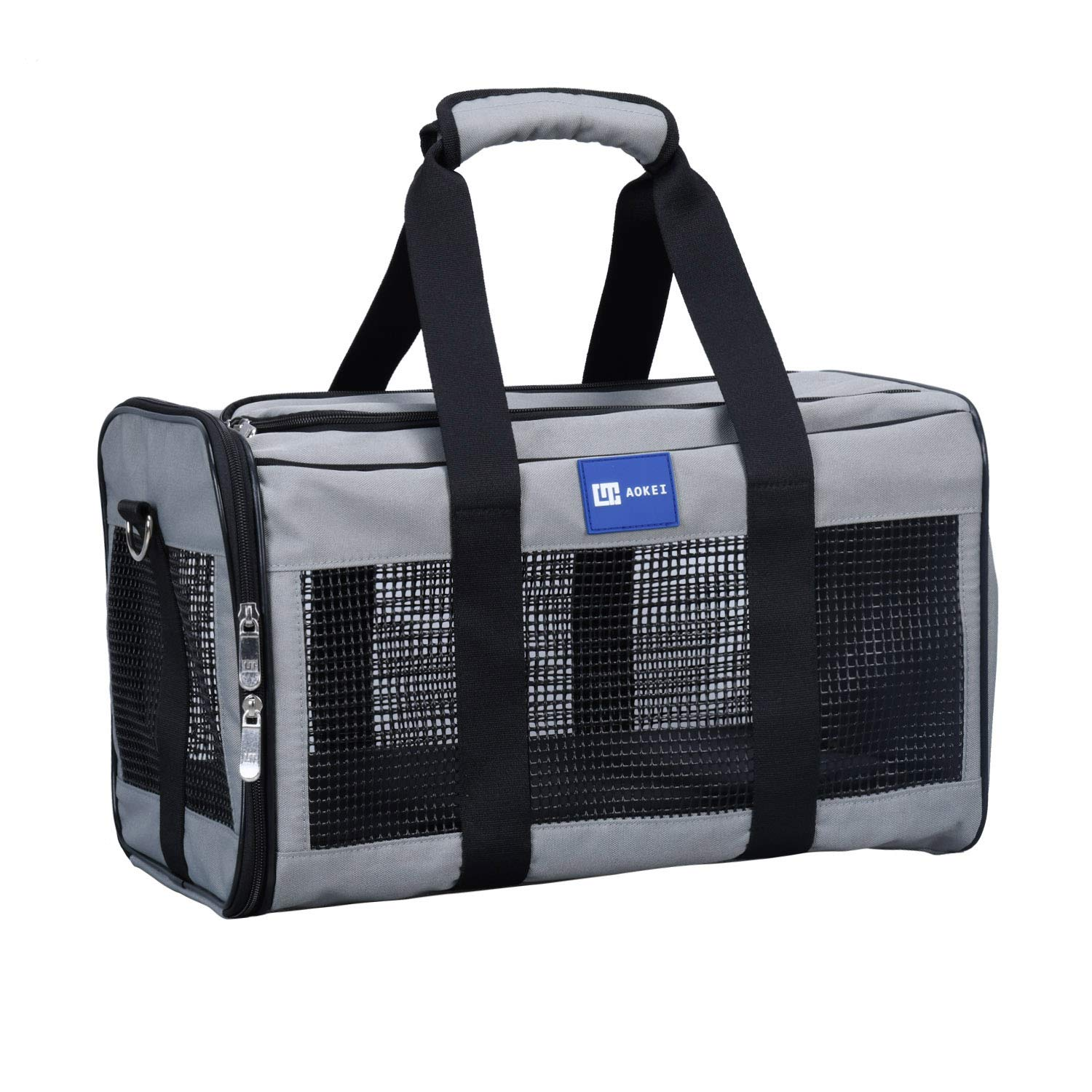Grey 20Lx11Wx11.25L Grey 20Lx11Wx11.25L Aokei Deluxe Airline Approved Soft-Sided pet Carrier for Dogs & Cats,Portable Pet Carrier (20Lx11Wx11.25H, Grey) [Airline Approved]