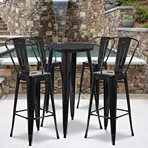 """Flash Furniture Commercial Grade 24"""" Round Black Metal Indoor-Outdoor Bar Table Set with 4 Cafe Stools"""