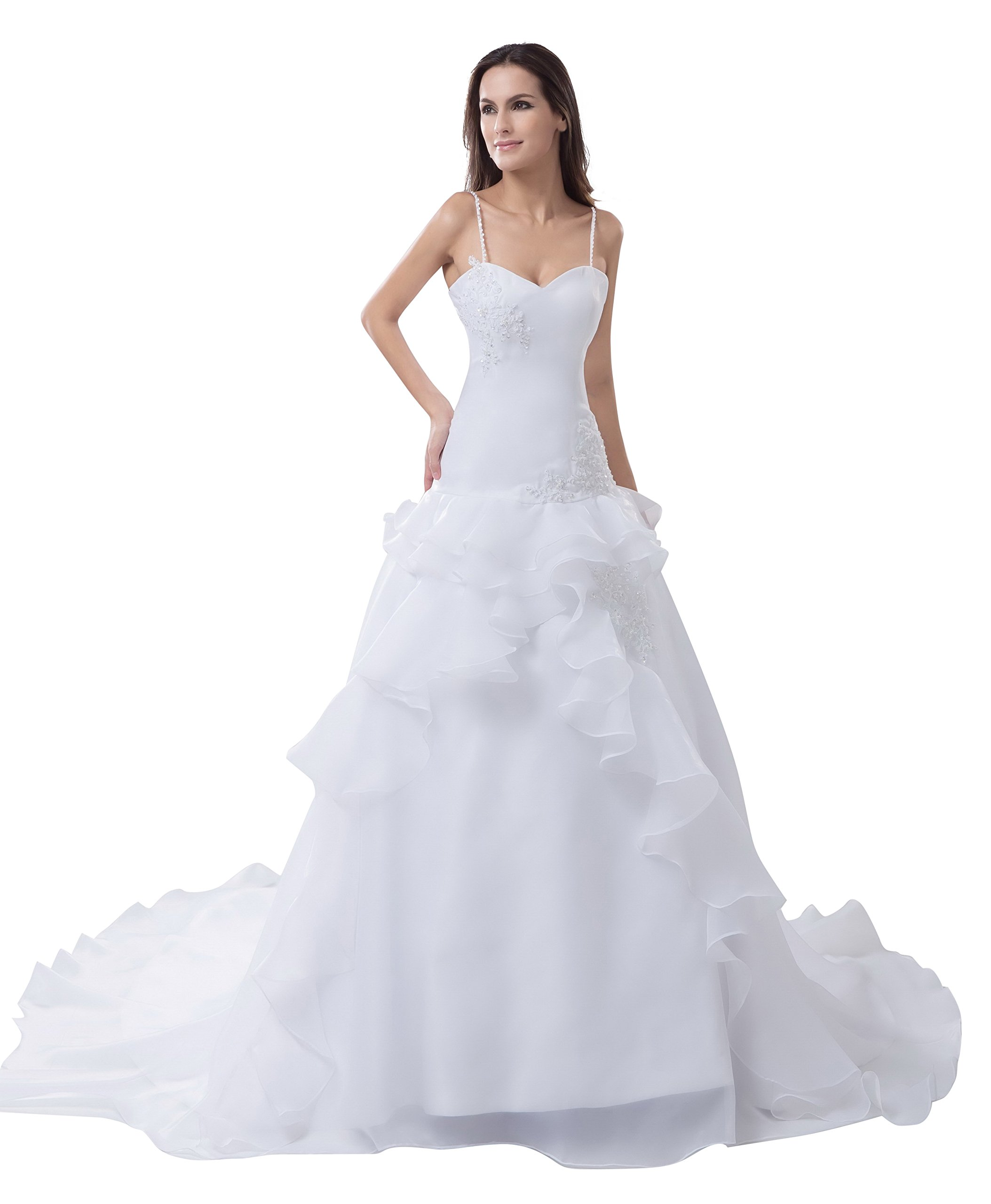 Vogue007 Womens Spaghetti Straps Satin Pongee Wedding Dress with Floral, ColorCards, 18W by Unknown