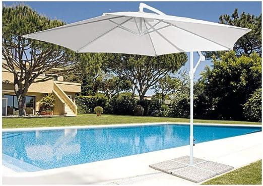 MilaniHome Sombrilla de jardín Lateral diámetro 3 Palo Blanco para ...