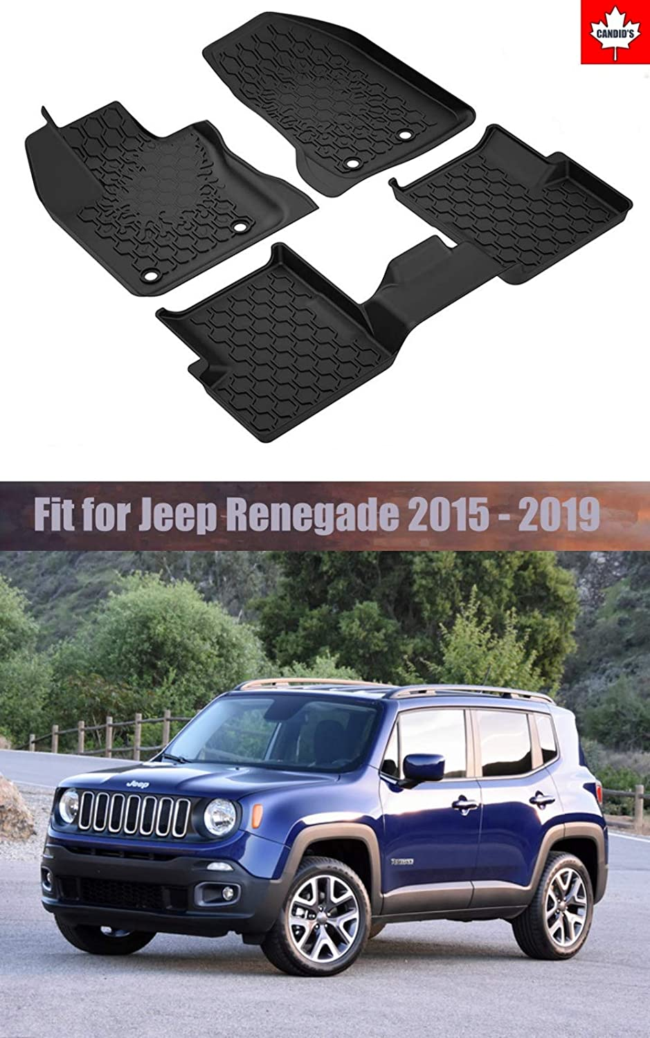 Cargo mat for Jeep Renegade 2015-2019 2015-2019 All Weather Guard Mat TPE Slush Liners