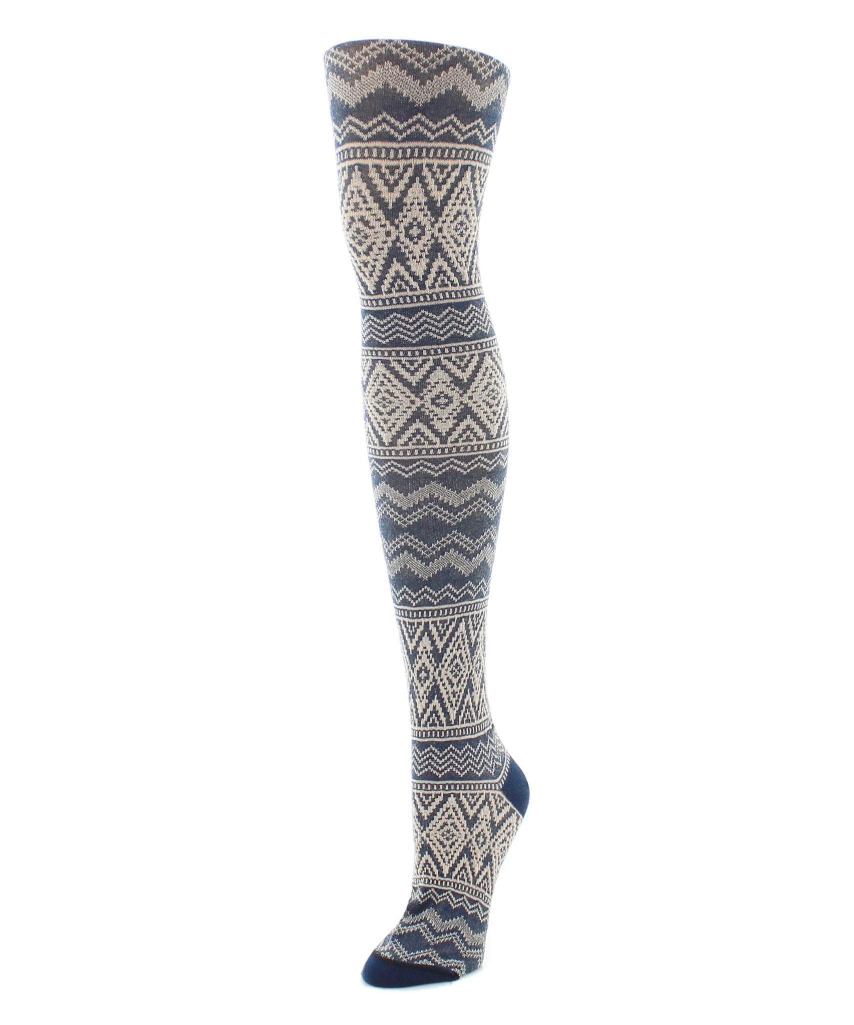 MeMoi Sweater Tights | Patterned Tights | Diamond Fair Isle Navy Blazer MF6 110 Small/Medium