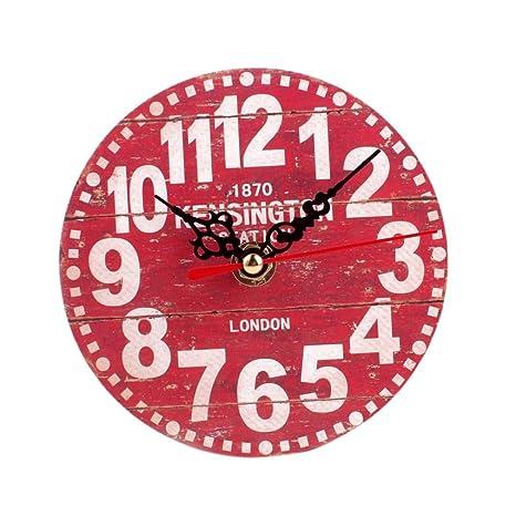 Malloom Relojes de pared de madera antiguo silencioso estilo vintage (E)