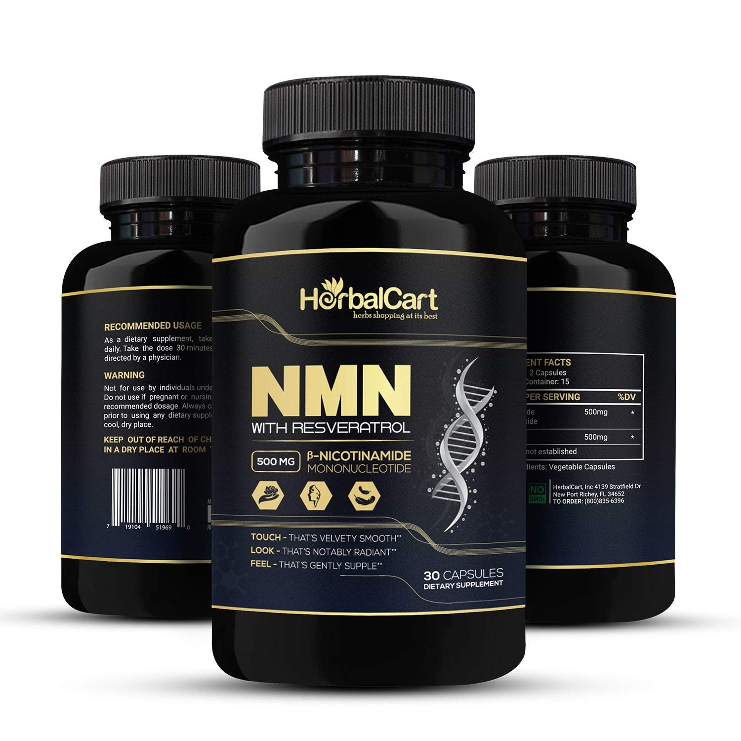 HerbalCart - NMN Supplement with Resveratrol - Best Anti-Aging Pills for Men & Women - Formulated with [ β-Nicotinamide Mononucleotide + Resveratrol ] 500mg - 30 Capsules