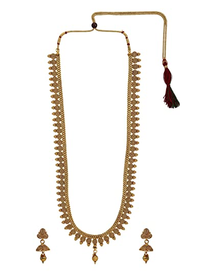 8ebd2cb1302b6 Buy Archi Collection Gold Plated Rhinestone Metal Long Necklace ...