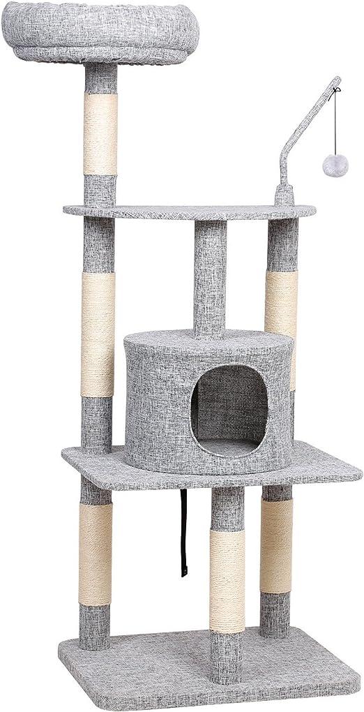 FEANDREA Árbol para Gatos, Rascador Multinivel con Postes Recubiertos con Sisal, Nicho Acolchado, Superficie de Tejido de Imitación a Lino, Gris Claro PCT64W: Amazon.es: Productos para mascotas
