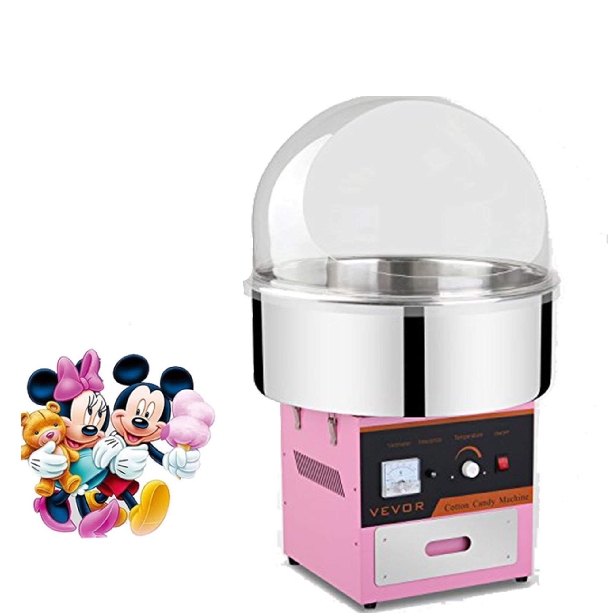 OrangeA Cotton Candy Machine Commercial Cotton Candy Machine Candy Floss Maker 1030W Electric Cotton Candy Maker Stainless Steel Pink (Cotton Candy Machine with Cover)