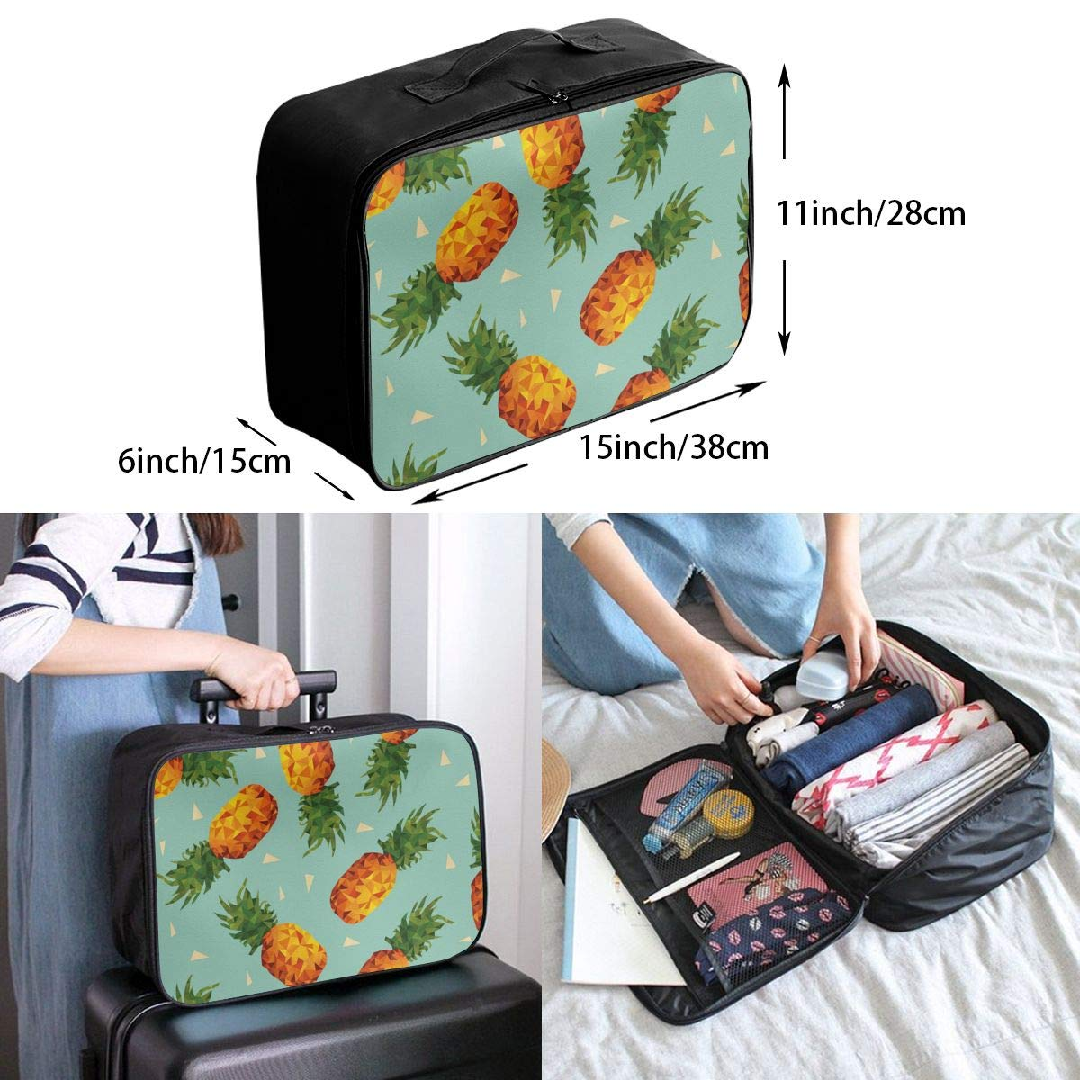 Vintage Pineapples Summer Beach Hawaii Travel Lightweight Waterproof Folding Storage Carry Luggage Duffle Tote Bag Large Capacity In Trolley Handle Bags 6x11x15 Inch