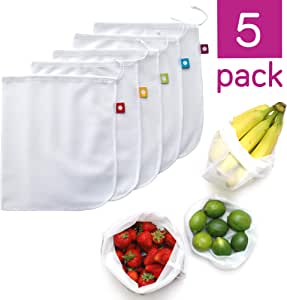 FLIP and Tumble - Reusable Produce Bags – Washable Mesh Bags for Fruits and Vegetables, Tough and Tear Proof, Eco-Friendly Cloth Fabric, Set of 5
