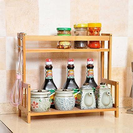 SHtlj Especieros Estantería de Cocina Madera Sazonadores Suministros de Cocina  Estantes Piso Multifunción Cocina Acabado Rack d2267cecf708