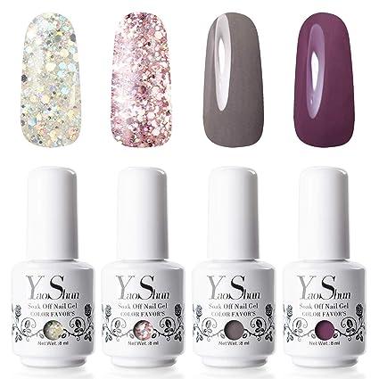 Y&S. Esmalte de uñas de gel semipermanente (kit de 6 colores,