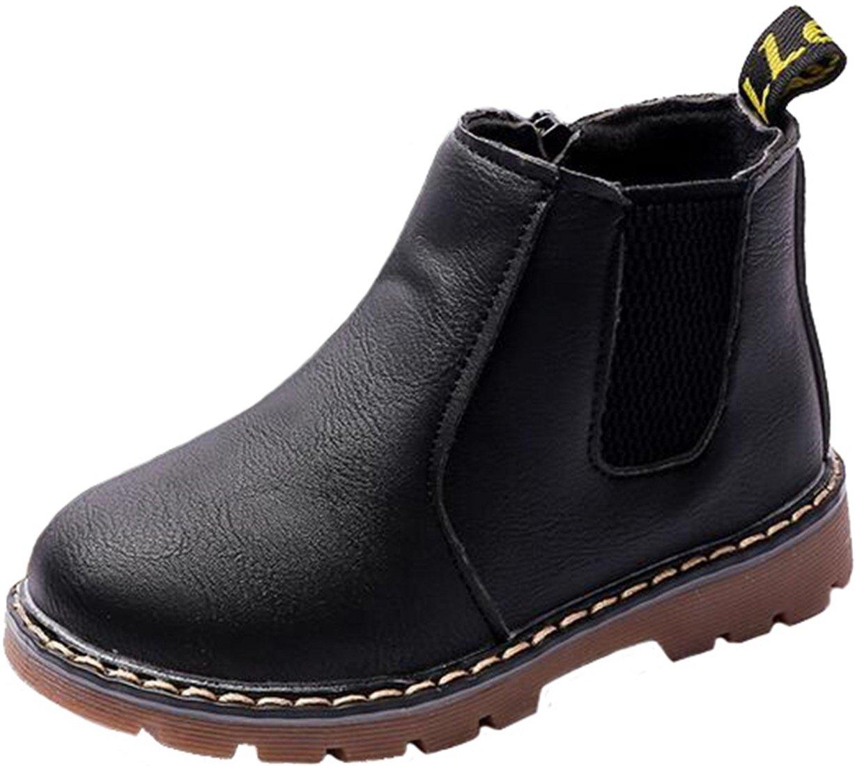 PPXID Boy's Girl's British Waterproof Plush Inside Snow Boots(Baby/Toddler/Little Kid/Big Kid)-Black 11 US Size