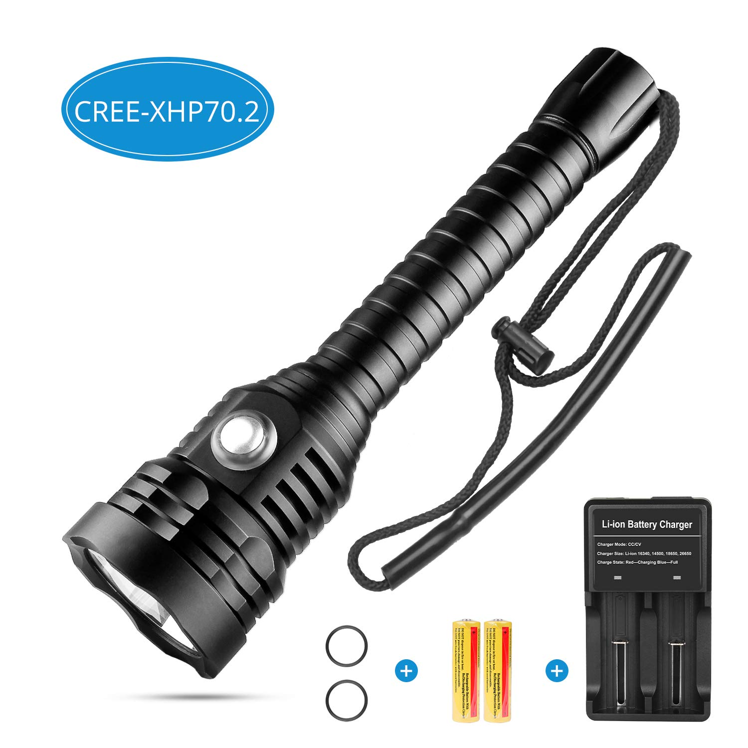 Sondiko CREE-XHP70.2 Diving Flashlight, 5000 Lumen Super Bright 100M Underwater Scuba Diving Light with Rechargeable Batteries and Charger