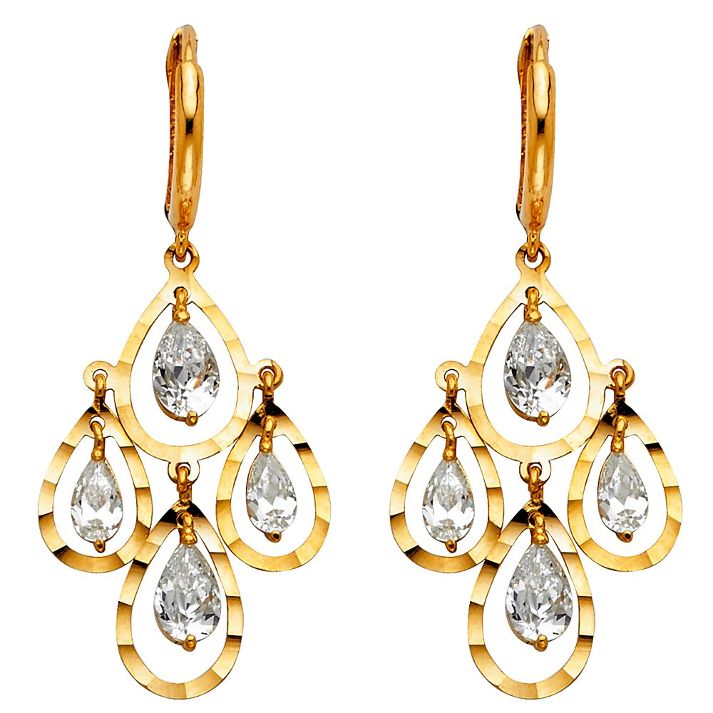 Ioka - 14K Yellow Gold CZ Stone chandelier Pear Cut Dangle Hanging Drop Huggies Hinged Earrings