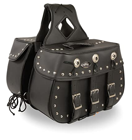 16b2acf328 Milwaukee Performance SH652ZB Black Zip-Off Triple Buckle PVC Throw Over Saddle  Bag with Studs