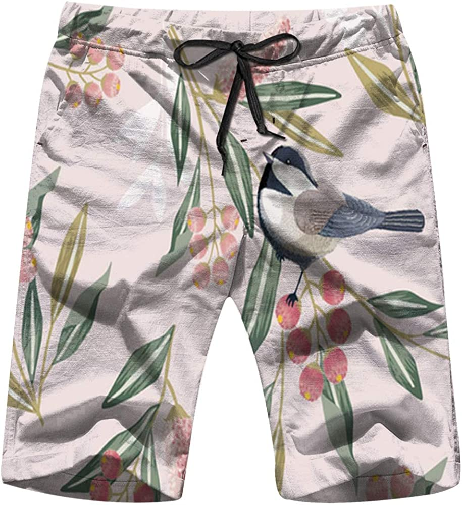 Floral Flower Nature Mens Swim Trunks Summer Beachwear Board Shorts Quick Dry Print