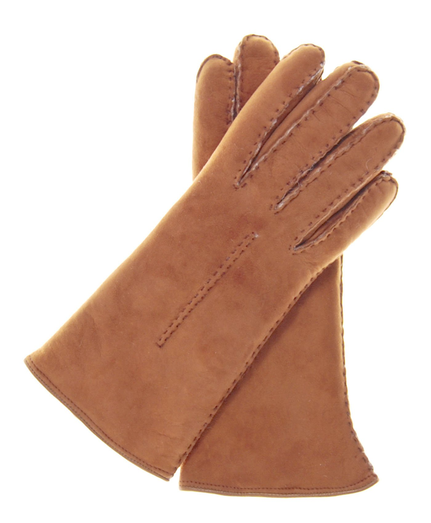 Fratelli Orsini Women's Handsewn Sueded Lamb Shearling Gloves Size 8 Color Saddle