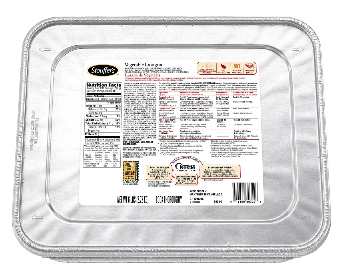 Stouffer's Vegetable Lasagna, 96 oz., (pack of 4)