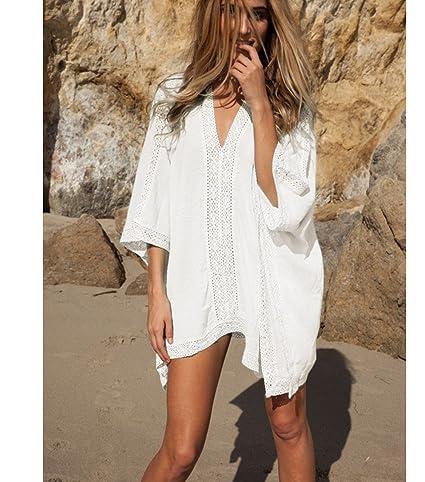 c5cf319fb29f8 Amazon.com: Topseller Summer Women Loose Bathing Suit Lace Bikini Crochet  Cover Up Swimwear Summer Beach Dress Top Shorts (White): Home & Kitchen
