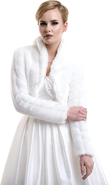 Lacey Bell Damen Brautjacke-Bolero kunstlichem Pelz Fell-Nerzimitat Braut Pelzimitat Jacke FFJ-56