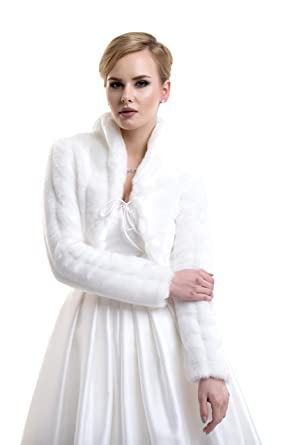 94106bc82 Ladies Mink Faux Fur Bridal Wedding Jacket Bolero with Collar FFJ-56 at Amazon  Women's Clothing store: