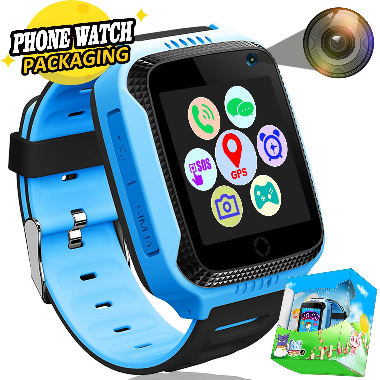 Kids Smartwatch Phone GPS Tracker con SOS Anti-perdida Call ...