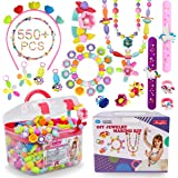 Pop Beads - 550+Pcs DIY Jewelry Making Kit for Toddlers 3, 4, 5, 6, 7 ,8 Year Old, Kids Pop Snap Beads Set to Make Hairband,