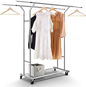 Simple Trending Double Rail Clothes Garment Rack, Heavy Duty Commercial Grade Clothing Rolling Rack with Mesh Storage Shelf on Wheels and Extendable Hanging Rail, Holds up to 200 lbs, Chrome