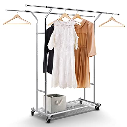 Simple Trending Double Rail Clothes Garment Rack, Heavy Duty Commercial Grade Clothing Rolling Rack with Mesh Storage Shelf on Wheels and Extendable ...