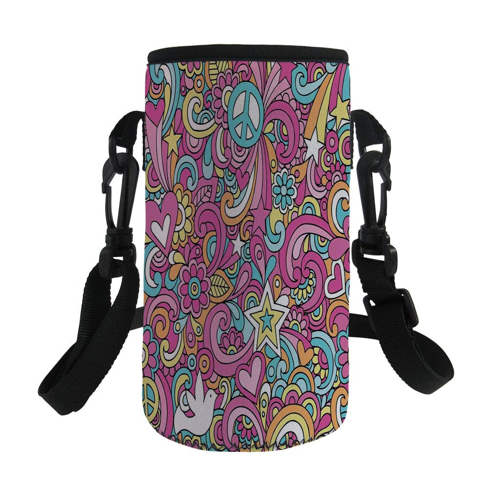 Small Water Bottle Sleeve Neoprene Bottle Cover,Groovy Decorations,Psychedelic Complex Funky Decorative Patterns Stars Back to 60s Fun Retro Artsy Print,Multi,Great for Stainless Steel and Plastic/Gla