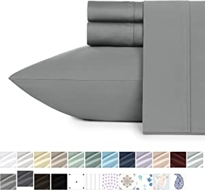 California Design Den 400 Thread Count 100% Cotton Sheet Set, Slate Grey Full Sheets 4 Piece Set, Long-Staple Combed Pure Natural Cotton Bedsheets, Soft & Silky Sateen Weave